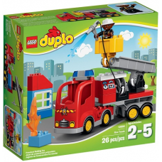 Rush to save the burning building in the LEGO® DUPLO® Fire Truck!